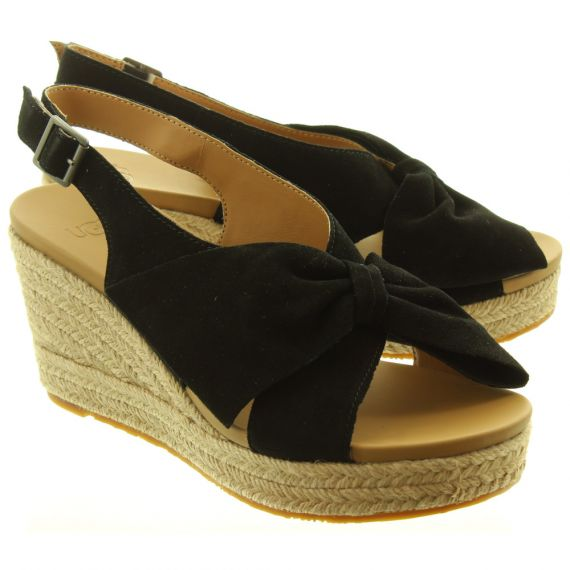 UGG Ladies Camilla Wedge Sandals In Black
