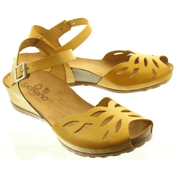 YOKONO Ladies Capri 023 Flat Sandals In Mustard