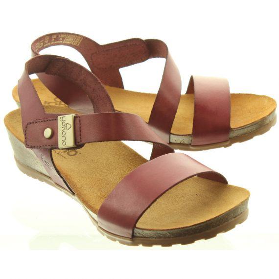 YOKONO Ladies Capri 042 Sandals In Burgundy