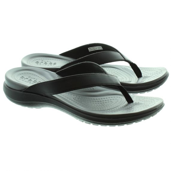 CROCS Capri V Flip Flops in Black