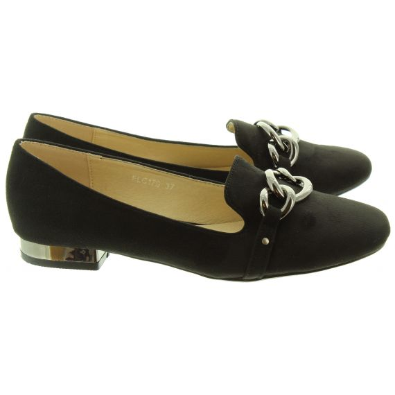 LUNAR Ladies Carys Chain Loafers In Black