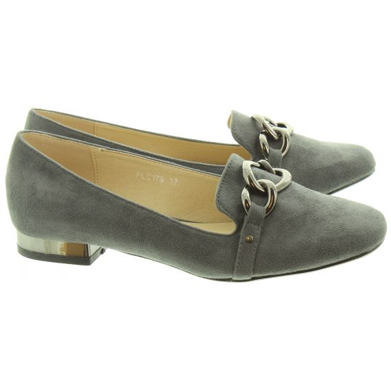 LUNAR Ladies Carys Chain Loafers In Grey