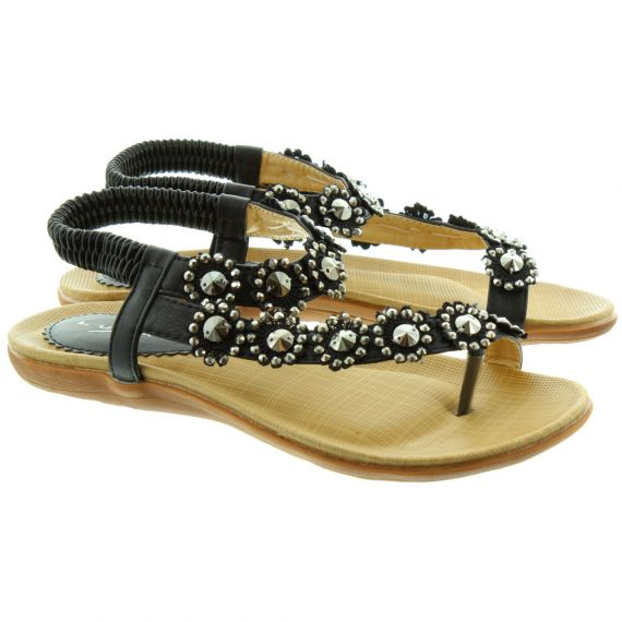 LUNAR Charlotte JLH601 Flat Sandals in Black
