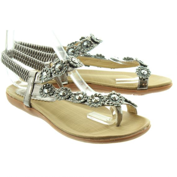 LUNAR Ladies Charlotte JLH601 Flat Sandals In Pewter