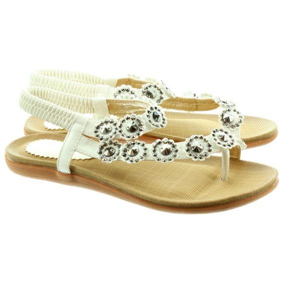 LUNAR Charlotte JLH601 Flat Sandals in White