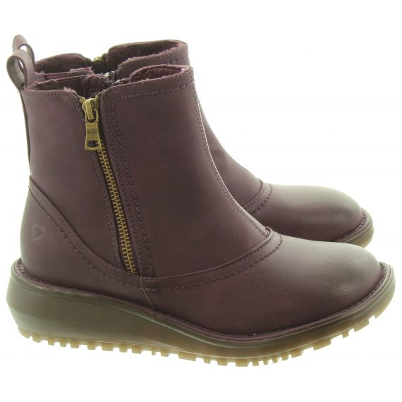 HEAVENLY FEET Ladies Darcie Zip Ankle Boots In Plum