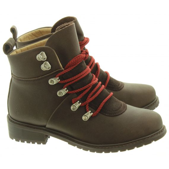 EMU Ladies Dongara Lace Ankle Boots In Espresso Brown