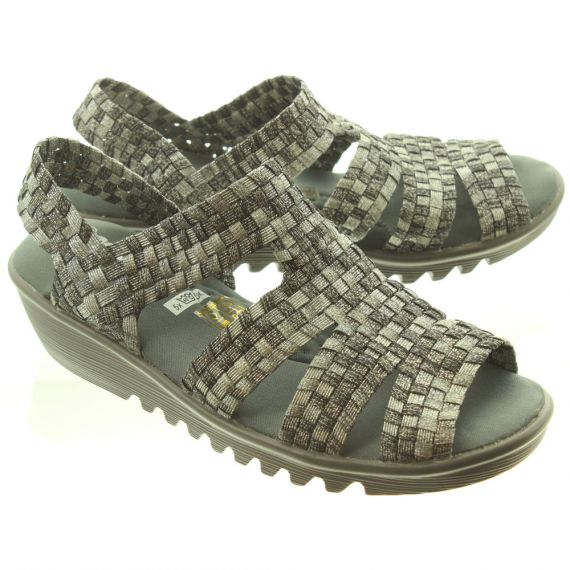 ADESSO Ladies  Esmay Wedge Sandals In Gunmetal