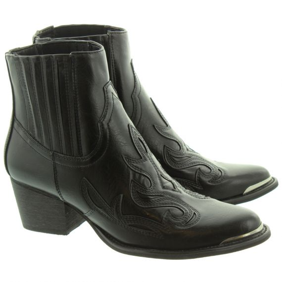 JAKE F50940 Western Ankle Boots In Black