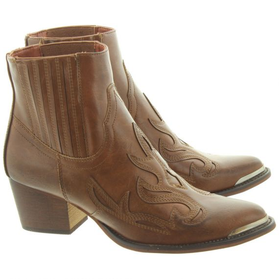 JAKE F50940 Western Ankle Boots In Brown