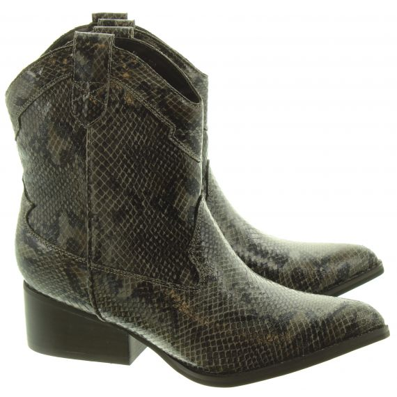 JAKE Ladies F51018 Western Snake Ankle Boots In Black