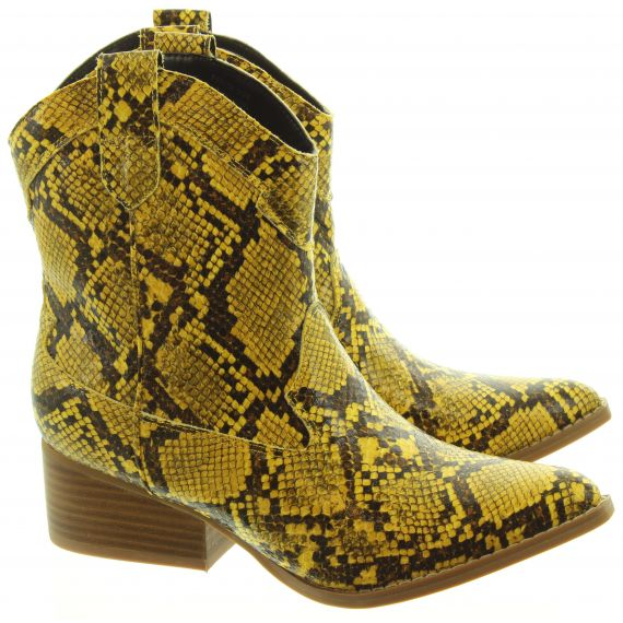 JAKE Ladies F51018 Western Snake Boots In Lemon