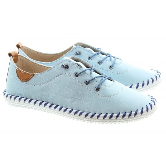 LUNAR Ladies FLE030 St Ives Leather Shoes In Blue