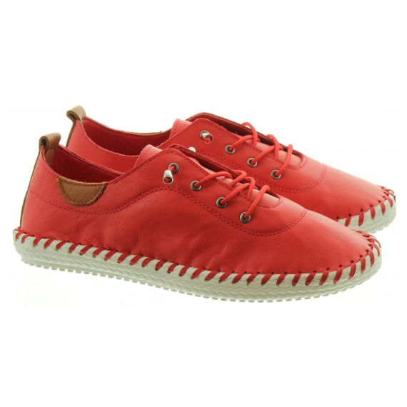 LUNAR Ladies Lunar FLE030 St Ives Leather in Red
