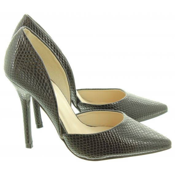 GLAMOROUS Ladies FW1139 Stiletto Shoes In Black Snake