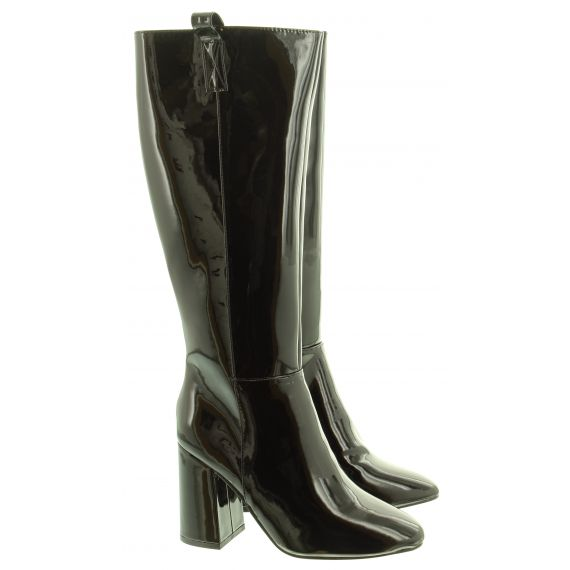 GLAMOROUS Ladies FW5351 Knee Boots In Black Patent