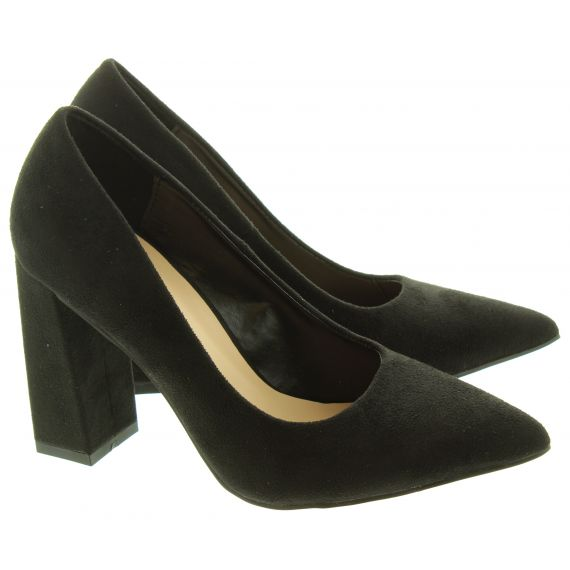 GLAMOROUS Ladies FW6132 Heel Court Shoes In Black