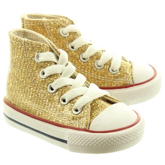 CONVERSE Kids Glitter Hi Boots In Gold