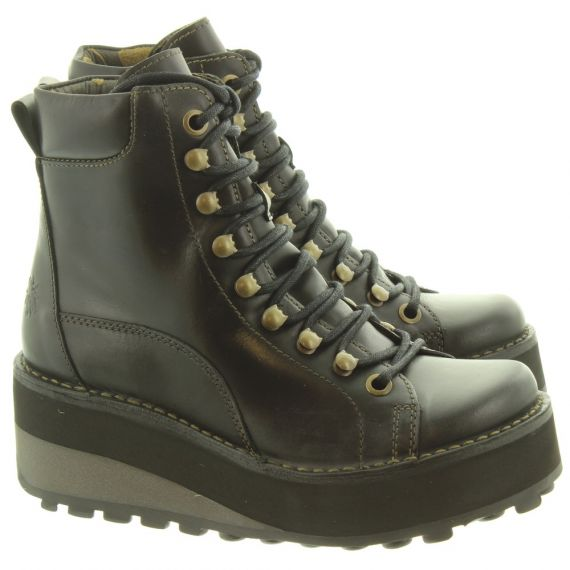 FLY Ladies Haku Wedge Hiker Boots In Black