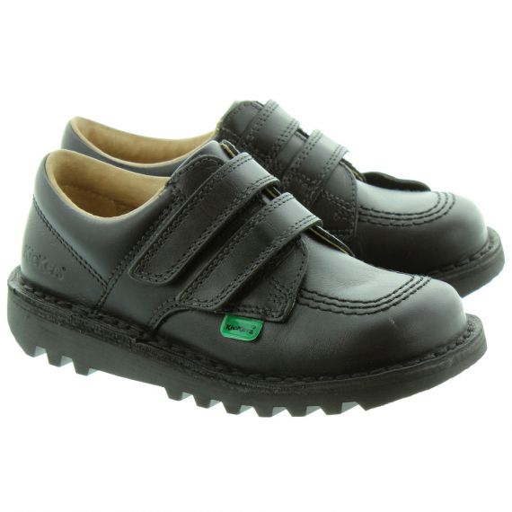 KICKERS Kids Kick Lo Velcro Shoes in Black