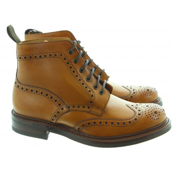 LOAKE Mens Bedale Brogue Ankle Boots In Tan