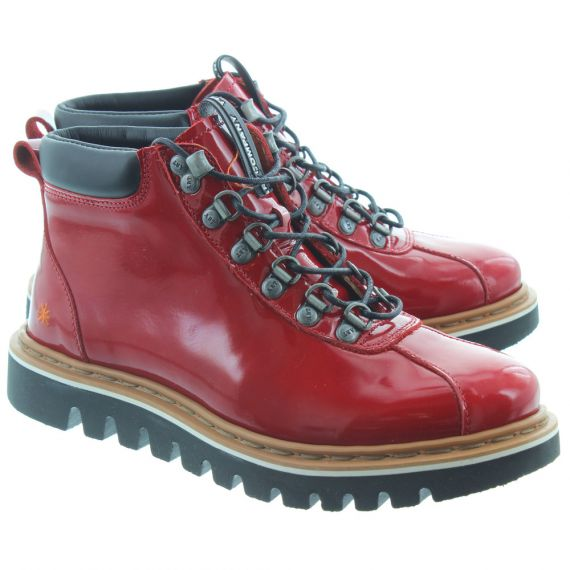 ART Ladies 1402 Patent Hiker Boots In Red Patent
