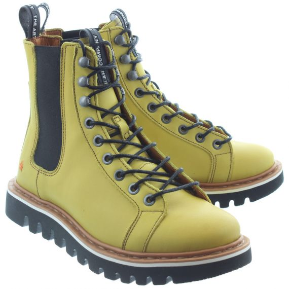 ART Ladies 1403 Lace Ankle Boots In Yellow