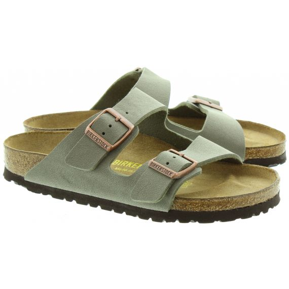 BIRKENSTOCK Arizona 2 Bar Buckle Mule Sandals in Stone Grey