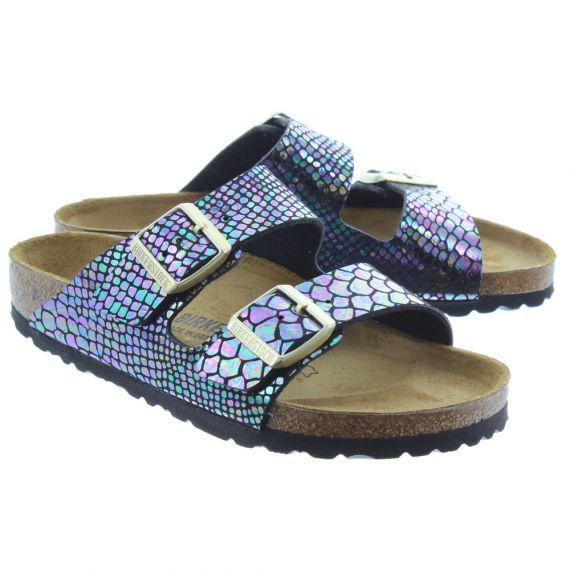 BIRKENSTOCK Ladies Arizona Shiny Snake Sandals In Black