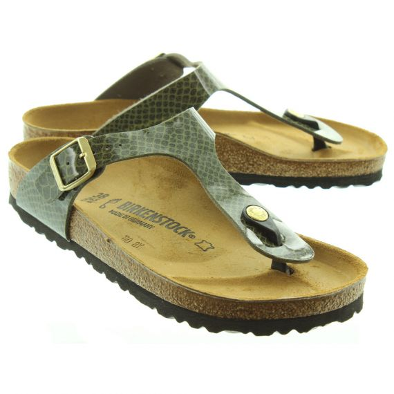 BIRKENSTOCK Ladies Gizeh Magic Snake Sandals In Khaki