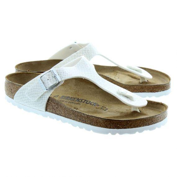 BIRKENSTOCK Ladies Gizeh Magic Snake Sandals In White