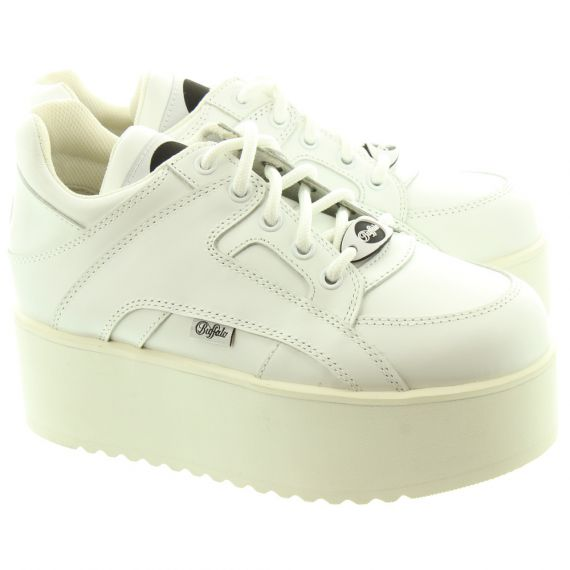 BUFFALO Ladies 1330-6 Wedge Trainers In White