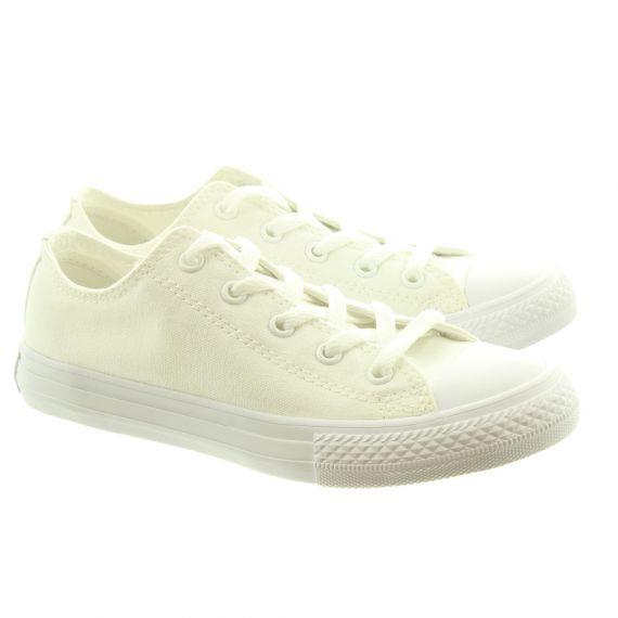 CONVERSE Canvas All Star Ox Kids Shoes In White Mono