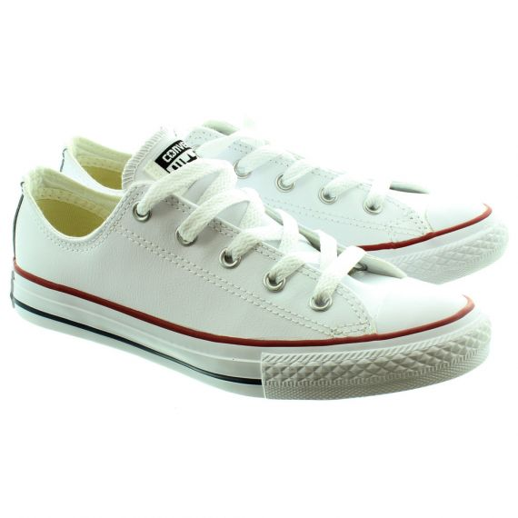 CONVERSE Kids Leather Ox Lace Shoes in White