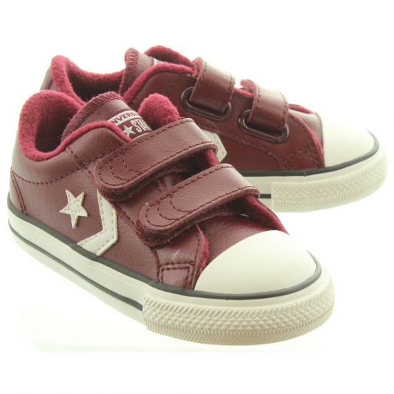 CONVERSE Kids Star Player 2V Leather Shoes In Burgundy