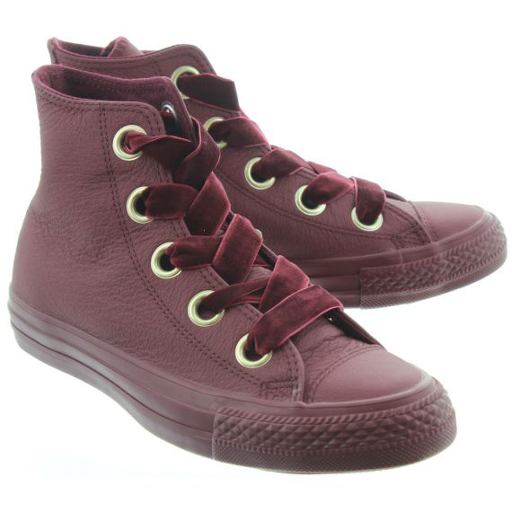 CONVERSE Ladies Allstar Hi Big Eyelet Boots In Burgundy