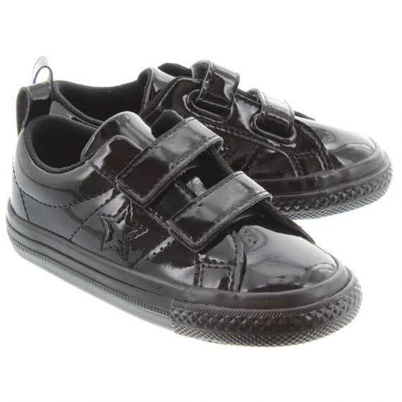 CONVERSE Kids Patent 2V One Star Shoes In Black Patent