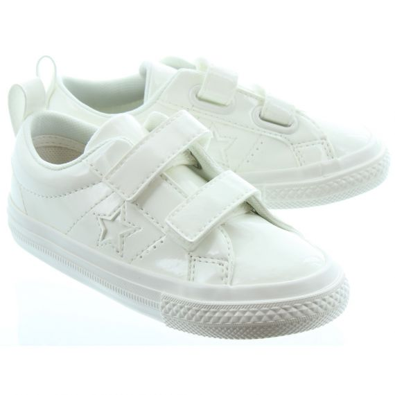 CONVERSE Kids Patent 2V One Star Shoes In White Patent