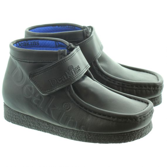 DEAKINS Kids Kain Embossed Strap Boots in Black