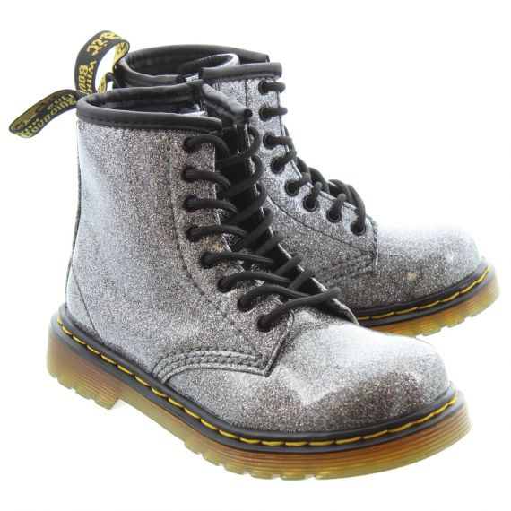 DR MARTENS Kids 1460 Glitter Boots In Gunmetal