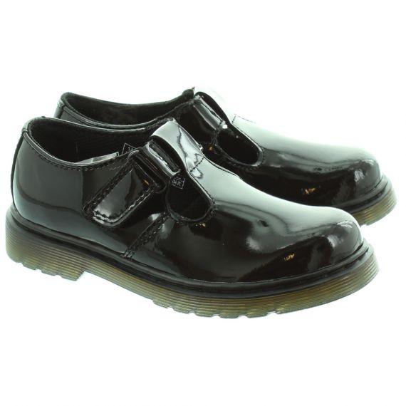 DR MARTENS Kids Goldie Ailis T Bar Shoes in Black Patent