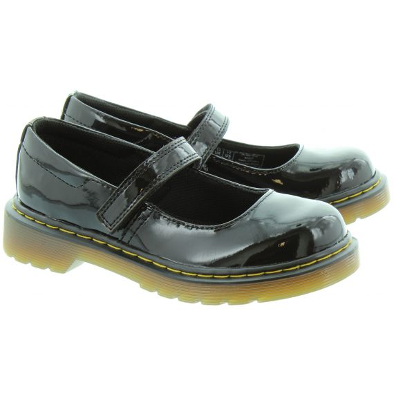 DR MARTENS Kids Maccy Mary Jane Bar Shoes in Black Patent