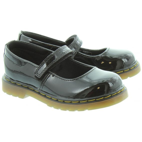 DR MARTENS Kids Tully Mary Jane Bar Shoes in Black Patent