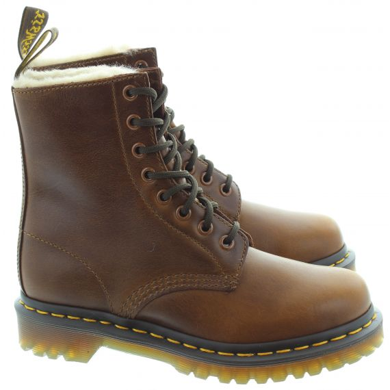 DR MARTENS Ladies 1460 Serena Fur Ankle Boots In Brown