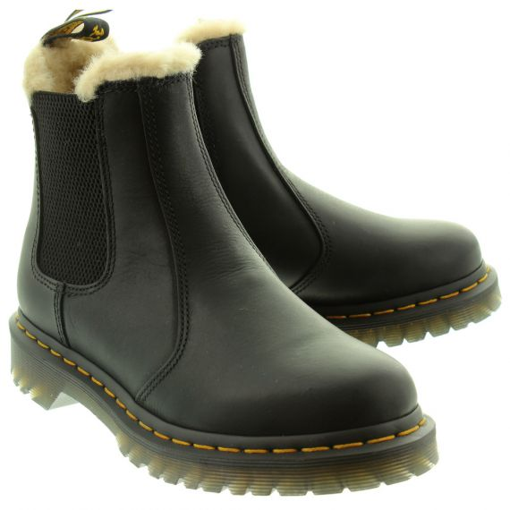 DR MARTENS Ladies 2976 Leonore Fur Ankle Boots In Black