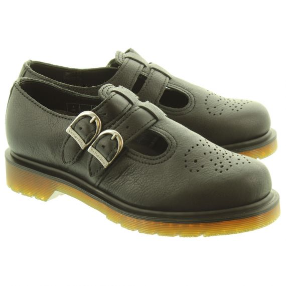 DR MARTENS Ladies 8065 Mary Jane Twin Bar Shoes In All Black