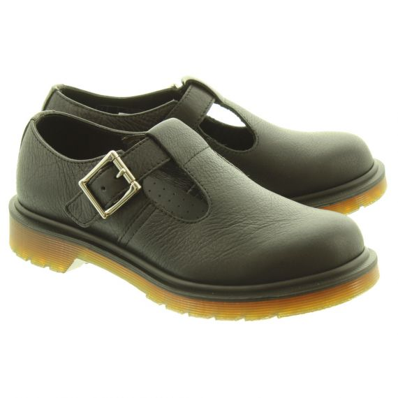 DR MARTENS Ladies Polley T-Bar Shoes In All Black