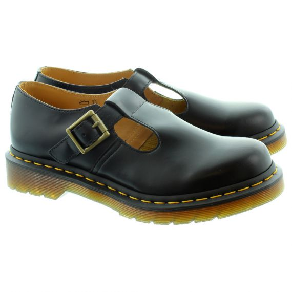 DR MARTENS Ladies Polley T-Bar Shoes in Black