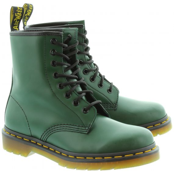 DR MARTENS Leather 1460 8 Eyelet Boots in Green