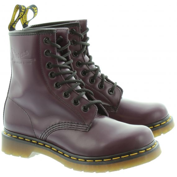DR MARTENS Leather 1460 8 Eyelet Boots in Purple
